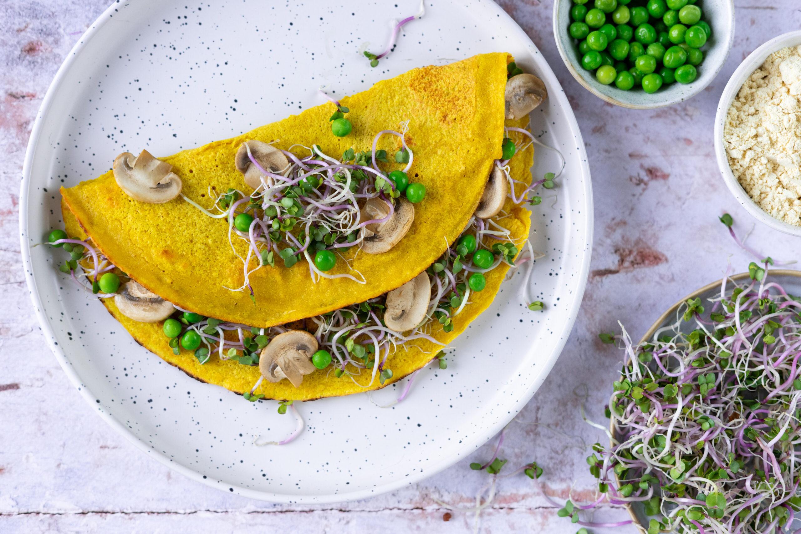 Vegan omelet met China Rose kiemen