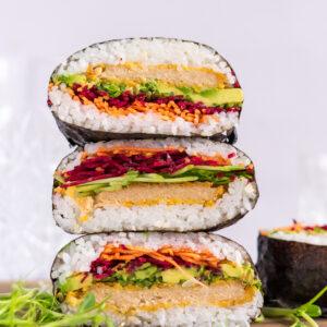 Vegan onigirazu (sushi sandwich)